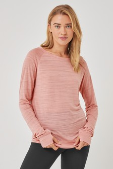 Pink Long Sleeve Sports Top
