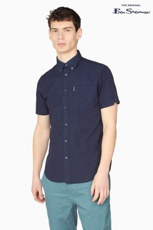 Ben Sherman Dark Navy Short Sleeve Signature Organic Oxford Shirt