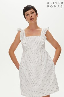 Oliver Bonas White Metallic Dobby Mini Dress