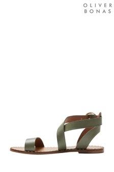 Oliver Bonas Green Leather Studded Sandals