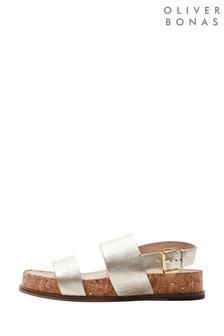Oliver Bonas Gold Leather & Cork Comfort Footbed Sandals