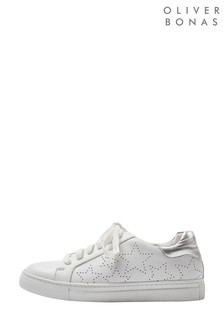 Oliver Bonas White/Silver Star Punched Hole Trainers