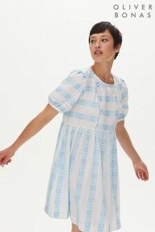 Oliver Bonas Blue Ladder Trim Stripe Mini Dress