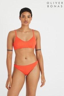 Oliver Bonas Red Chevron Texture Scoop Neck Bikini Top