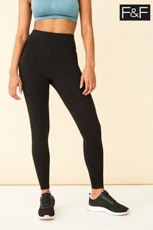 F&F Black Panelled Leggings