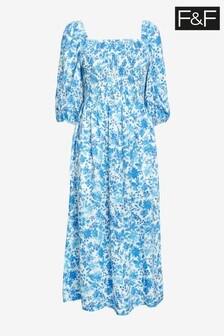 F&F Blue Floral Shirred Midi Dress