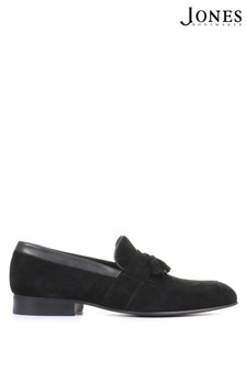 Jones Bootmaker Mens Black Richmond Leather Suede Penny Loafers