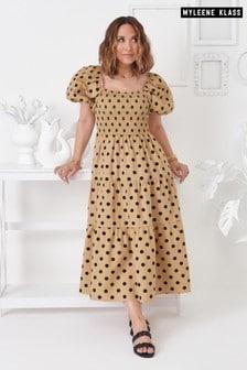 Myleene Klass Shirred Puff Sleeve Dress