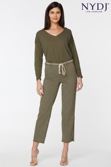 NYDJ Moss Fray Hem Relaxed Ankle Trousers With Belt
