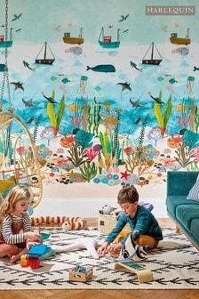 Harlequin Blue Above & Below Children's Wallpaper