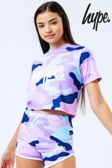 Hype. Purple  Evie Camo Crop T-Shirt