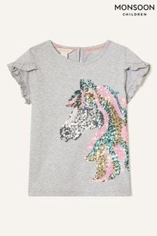 Monsoon Grey Sequin Horse T-Shirt In Organic Cotton