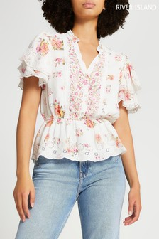 River Island Pink Light Ss Ultimate Broderie Top