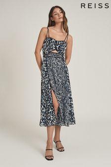 REISS Blue Nerissa Printed Midi Dress
