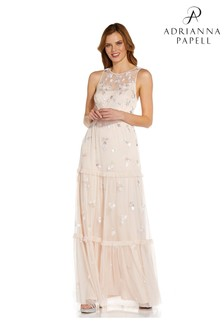 Adrianna Papell Nude Beaded Tiered Gown