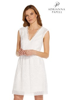 Adrianna Papell White Guipure Lace Fit And Flare Dress