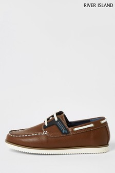River Island Tan Rubber Patched Boat Shoes