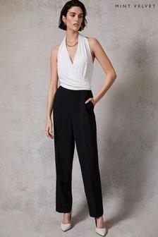 Mint Velvet Black & White Wrap Jumpsuit