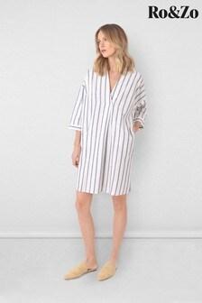 Ro&Zo Blue Stripe Shirt Dress