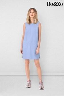 Ro&Zo Blue Chambray Pinafore Dress