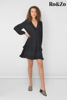 Ro&Zo Black Frill Detail Wrap Dress