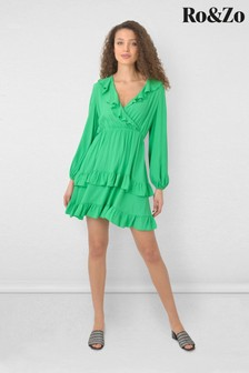 Ro&Zo Green Frill Detail Wrap Dress