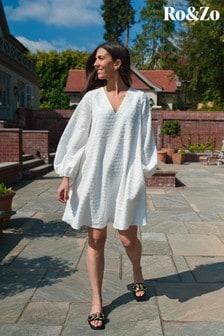 Ro&Zo White Textured Swing Dress