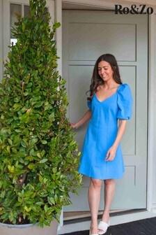 Ro&Zo Blue Puff Sleeve Jersey Dress