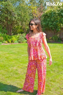Ro&Zo Pink Lurex Tile Print Belted Trousers