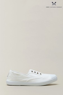 Crew Clothing Company White Laceless Trainers