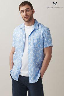 Crew Clothing Company Blue White Short Sleeve Palm Print Shirt