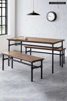 Carnegie Table with 2 Benches By Julian Bowen