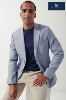 Crew Clothing Company Blue Maristow Linen Blend Blazer