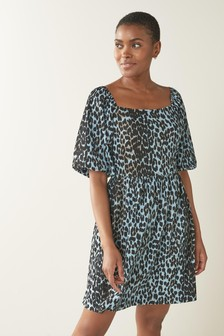 Blue Animal Puff Sleeved Short Dress