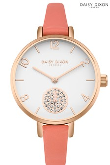Daisy Dixon Alice Coral Skinny Strap Watch With White Dial