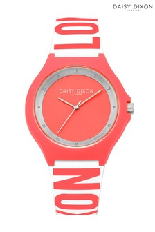 Daisy Dixon White Silicone Strap Watch With Coral Dial
