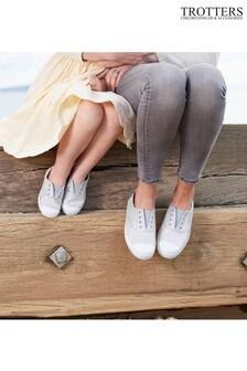Trotters London Silver Adult Plum Canvas Shoes