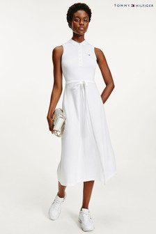 Tommy Hilfiger White Fit & Flare Midi Polo Dress