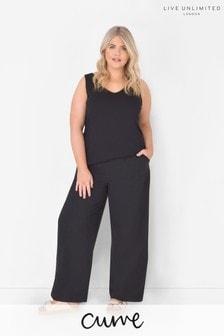 Live Unlimited Curve Black Linen Blend Wide Leg Trousers