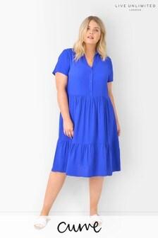 Live Unlimited Curve Blue Sustainable Viscose Shirt Dress