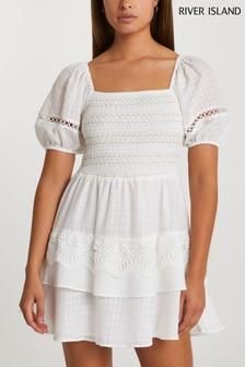 River Island White Puff Sleeve Check Mini Dress