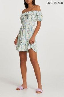 River Island Blue Bardot Floral Mini Dress