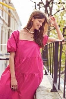 Monsoon Pink Organic Cotton Tiered Dress