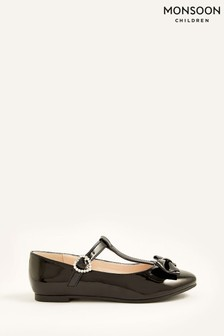 Monsoon Black Patent T-Bar Bow Ballerina Flat Shoes