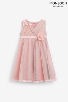Monsoon Pink Baby Corsage Wrap Dress