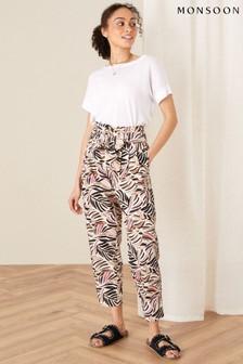 Monsoon Natural Palm Print Poplin Trousers