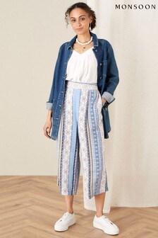 Monsoon Blue Patch Print Stripe Culottes
