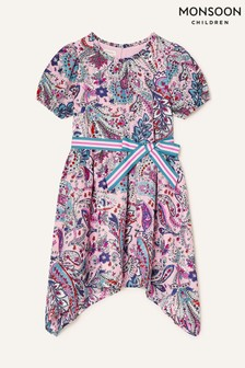 Monsoon Pink Paisley Print Hanky Hem Dress
