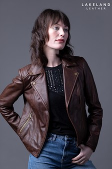 Lakeland Leather Thursby Vegetable Tanned Leather Biker Jacket In Tan