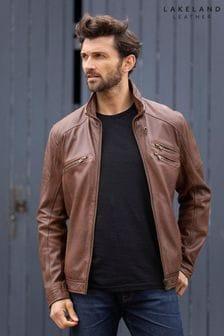 Lakeland Leather Hardknott Leather Biker Jacket In Nut Brown